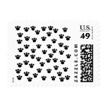 Animal Paw Print Pattern. Black and White. Postage Stamps