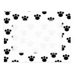 Animal Paw Print Pattern. Black and White. Post Card