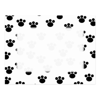 Animal Paw Print Pattern Black and White Post Card