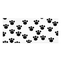 Animal Paw Print Pattern. Black and White. Rack Card