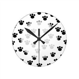 Animal Paw Print Pattern. Black and White. Round Clock