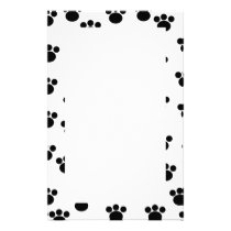 Animal Paw Print Pattern. Black and White. Stationery
