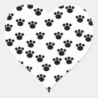 Animal Paw Print Pattern. Black and White. Heart Sticker
