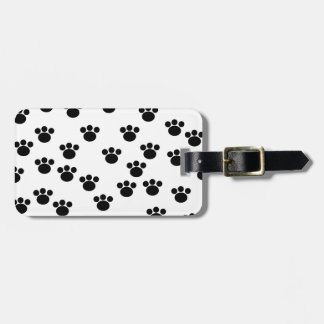 Animal Paw Print Pattern. Black and White. Tag For Luggage