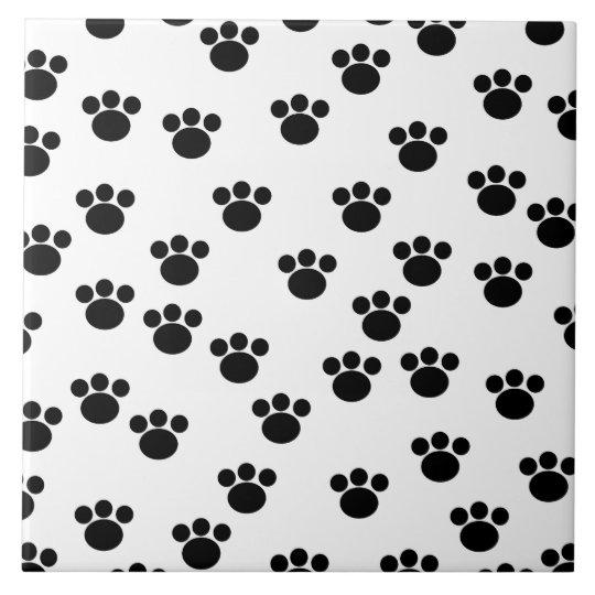 Animal Paw Print Pattern. Black and White. Tile