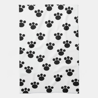 Animal Paw Print Pattern. Black and White. Towel