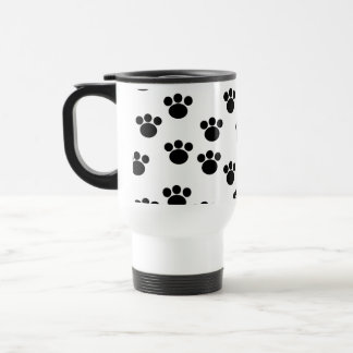 Animal Paw Print Pattern. Black and White. Travel Mug