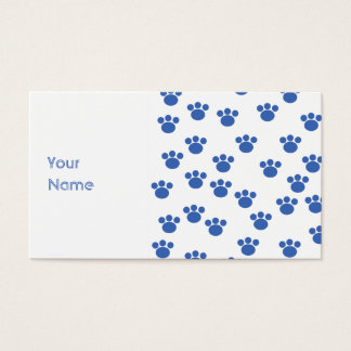 Animal Paw Print Pattern. Blue and White. Business Card