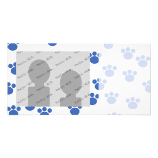 Animal Paw Print Pattern. Blue and White. Card