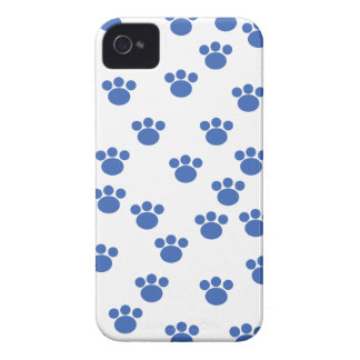 Animal Paw Print Pattern. Blue and White. iPhone 4 Case-Mate Case