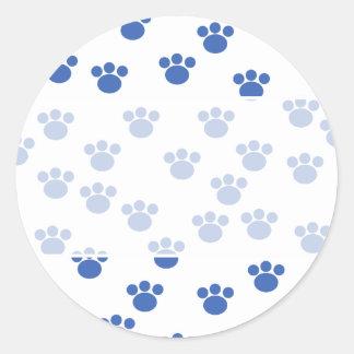Animal Paw Print Pattern. Blue and White. Classic Round Sticker