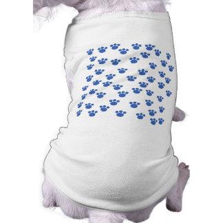Animal Paw Print Pattern. Blue and White. Doggie T Shirt