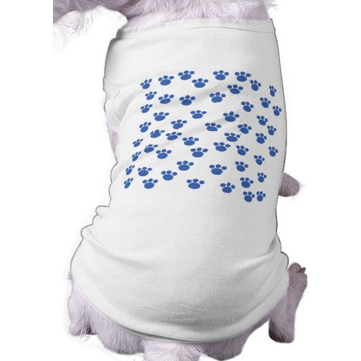 Animal Paw Print Pattern. Blue and White. Dog Clothes