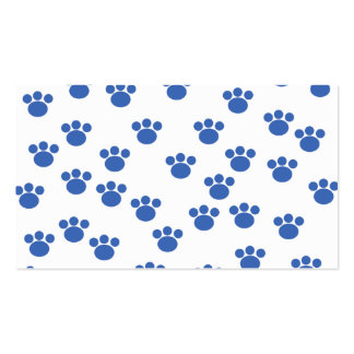 Animal Paw Print Pattern. Blue and White. Double-Sided Standard Business Cards (Pack Of 100)