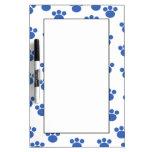 Animal Paw Print Pattern. Blue and White. Dry-Erase Whiteboard