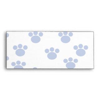 Animal Paw Print Pattern. Blue and White. Envelope