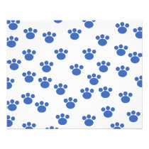 Animal Paw Print Pattern. Blue and White. Flyer