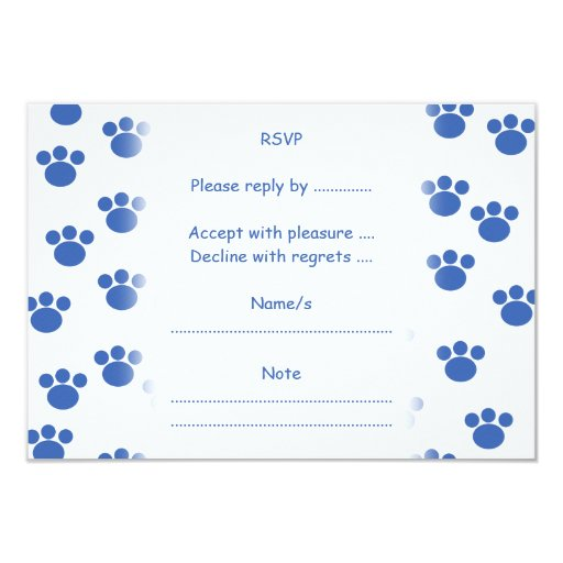 Animal Paw Print Pattern. Blue and White. 3.5x5 Paper Invitation Card