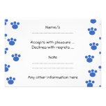 Animal Paw Print Pattern. Blue and White. Personalized Invites