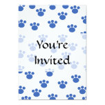 Animal Paw Print Pattern. Blue and White. Personalized Invitation