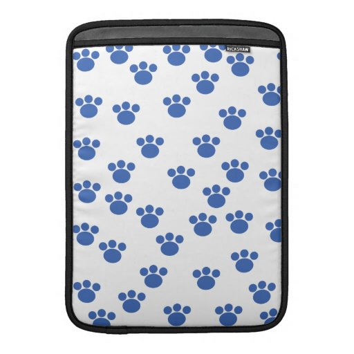 Animal Paw Print Pattern. Blue and White. MacBook Sleeves