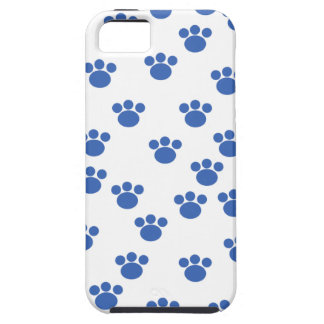 Animal Paw Print Pattern. Blue and White. iPhone 5 Cover