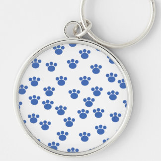 Animal Paw Print Pattern. Blue and White. Key Chain