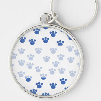 Animal Paw Print Pattern. Blue and White. Keychain