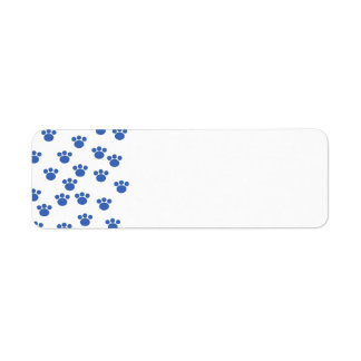 Animal Paw Print Pattern. Blue and White. Label