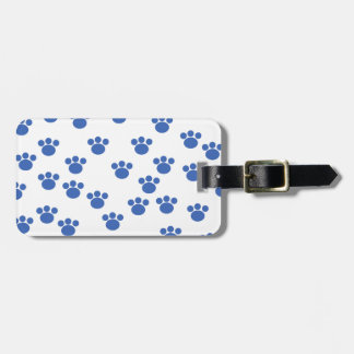 Animal Paw Print Pattern. Blue and White. Luggage Tag