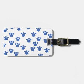 Animal Paw Print Pattern. Blue and White. Travel Bag Tag