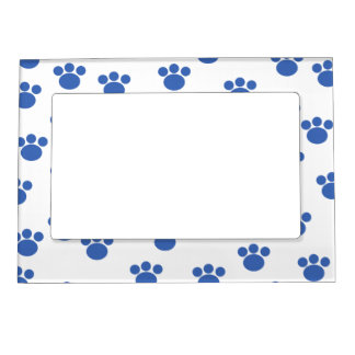 Animal Paw Print Pattern. Blue and White. Frame Magnets