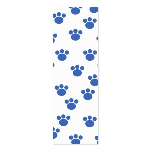 Animal Paw Print Pattern. Blue and White. Mini Business Card