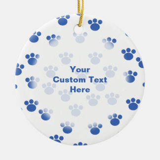 Animal Paw Print Pattern. Blue and White. Double-Sided Ceramic Round Christmas Ornament