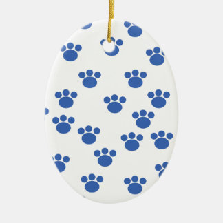Animal Paw Print Pattern. Blue and White. Double-Sided Oval Ceramic Christmas Ornament