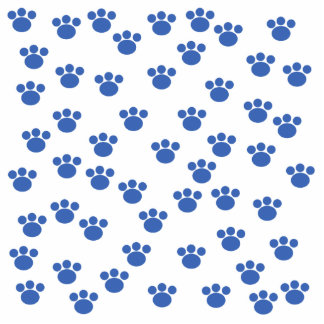 Animal Paw Print Pattern. Blue and White. Photo Sculpture Ornament