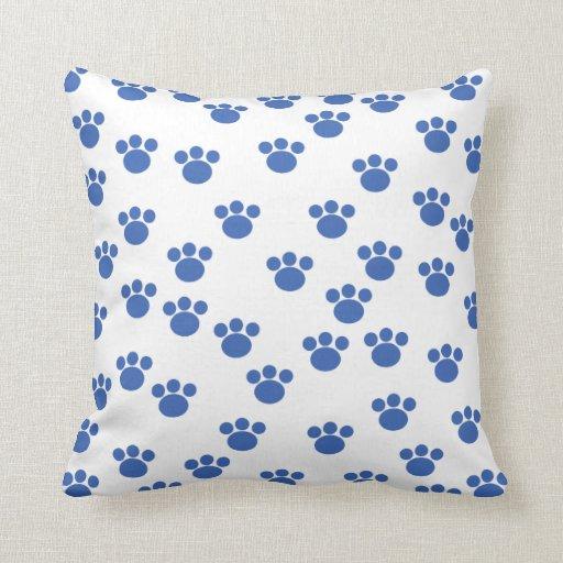 Animal Paw Print Pattern. Blue and White. Pillows