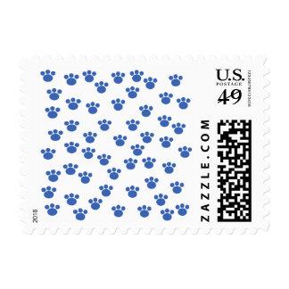 Animal Paw Print Pattern. Blue and White. Postage