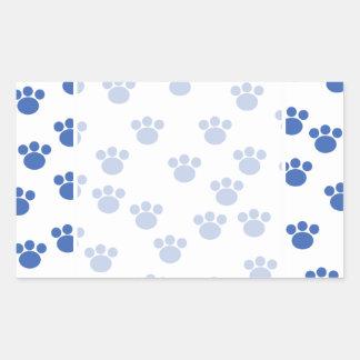 Animal Paw Print Pattern. Blue and White. Rectangular Sticker