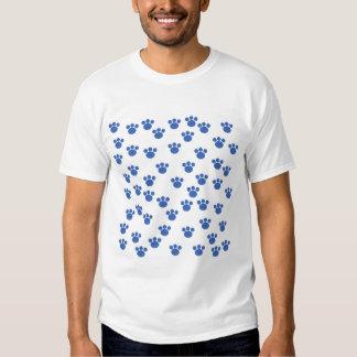 Animal Paw Print Pattern. Blue and White. Shirt