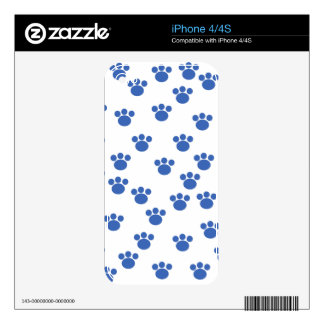Animal Paw Print Pattern. Blue and White. iPhone 4 Skins