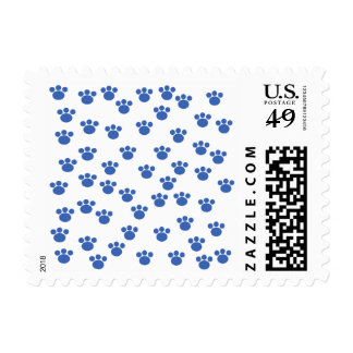 Animal Paw Print Pattern. Blue and White. Stamp