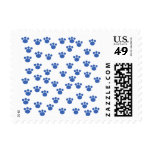 Animal Paw Print Pattern. Blue and White. Stamps