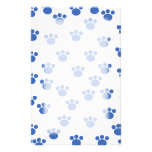 Animal Paw Print Pattern. Blue and White. Stationery Paper