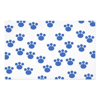Animal Paw Print Pattern. Blue and White. Stationery