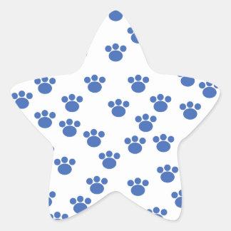Animal Paw Print Pattern. Blue and White. Sticker