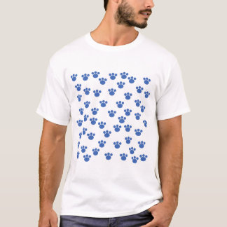 Animal Paw Print Pattern. Blue and White. T-Shirt
