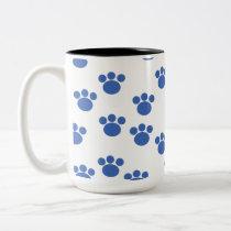 Animal Paw Print Pattern. Blue and White. Two-Tone Coffee Mug