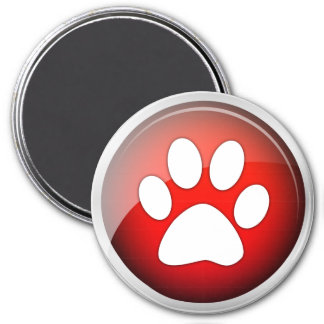 Animal Paw Print Red Icon 3 Inch Round Magnet