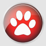 Animal Paw Print Red Icon (pack of 6/20) Round Stickers